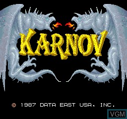 Title screen of the game Karnov on MAME