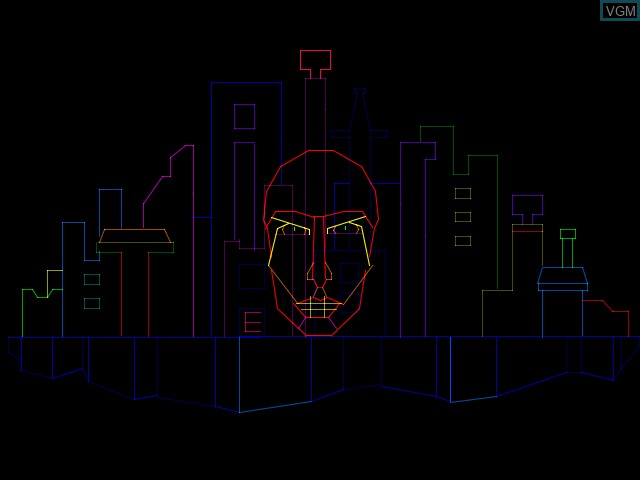 Menu screen of the game Zektor on MAME