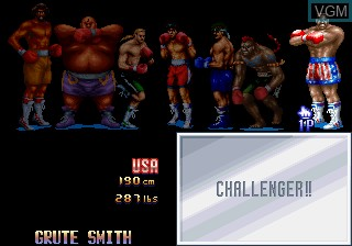 Menu screen of the game Best Bout Boxing on MAME