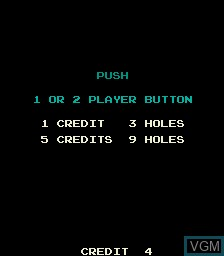 Menu screen of the game Big Event Golf on MAME