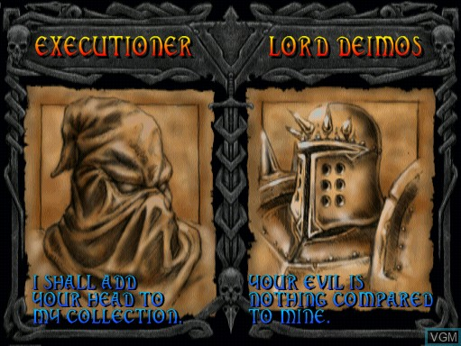Menu screen of the game Mace - The Dark Age on MAME
