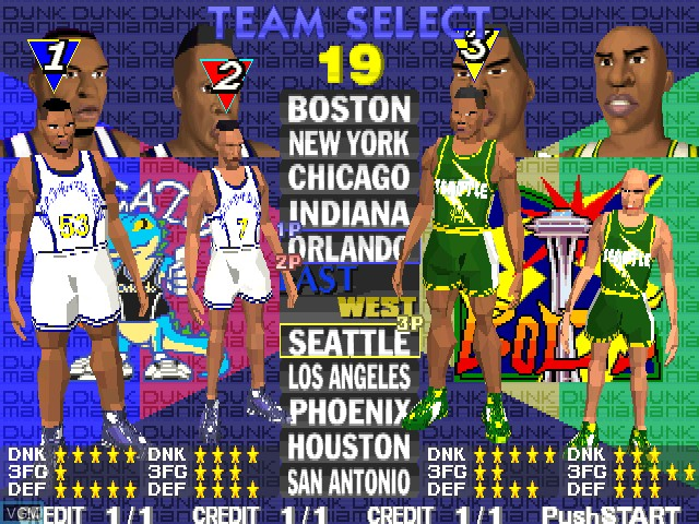 Menu screen of the game Dunk Mania on MAME