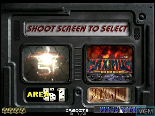 Menu screen of the game Area 51 / Maximum Force Duo on MAME