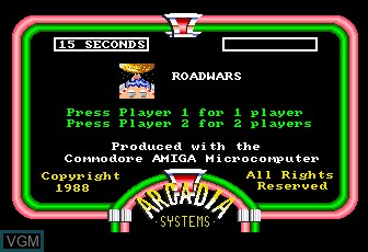 Menu screen of the game RoadWars on MAME