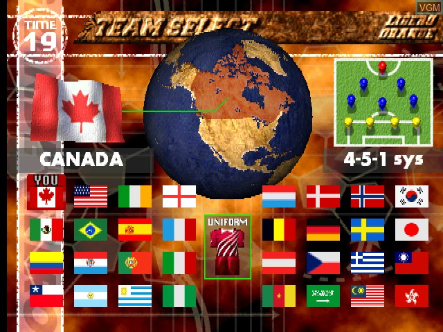 Menu screen of the game Libero Grande on MAME