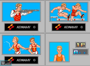 Menu screen of the game '88 Games on MAME