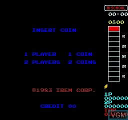 Menu screen of the game 10 Yard Fight on MAME
