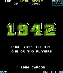Menu screen of the game 1942 on MAME