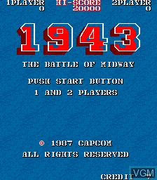 Menu screen of the game 1943 - The Battle of Midway on MAME