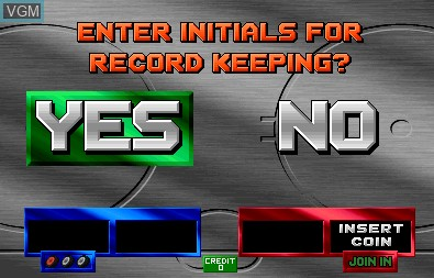 Menu screen of the game 2 on 2 Open Ice Challenge on MAME