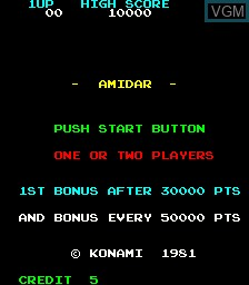 Menu screen of the game Amidar on MAME