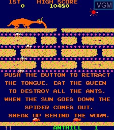 Menu screen of the game Anteater on MAME