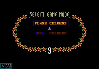 Menu screen of the game Columns II - The Voyage Through Time on MAME