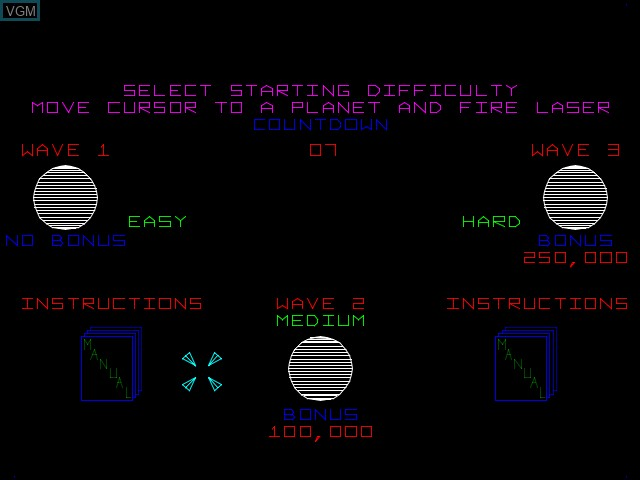Menu screen of the game Empire Strikes Back, The on MAME