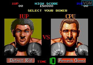 Menu screen of the game Final Blow on MAME