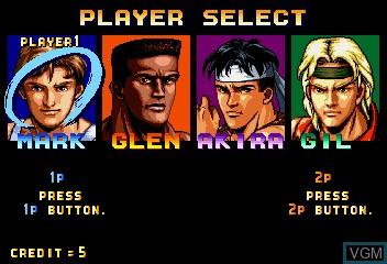 Menu screen of the game Karate Blazers on MAME