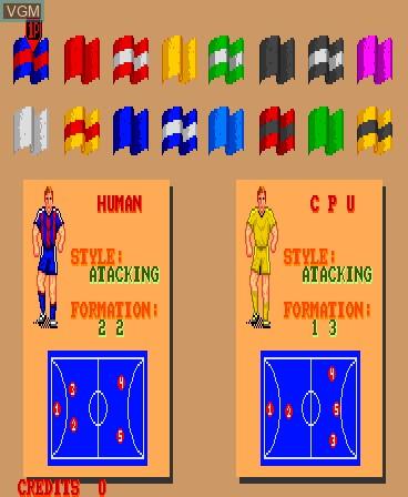 Menu screen of the game Kick Goal on MAME