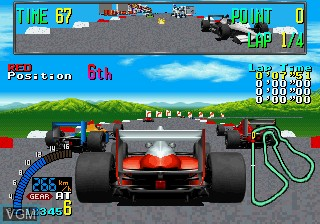 In-game screen of the game F1 Exhaust Note on MAME
