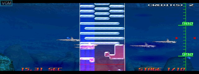 In-game screen of the game Aqua Rush on MAME