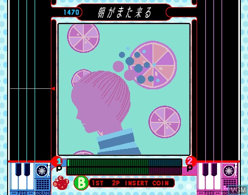 In-game screen of the game Beatmania featuring Dreams Come True on MAME
