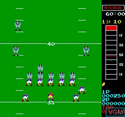 In-game screen of the game 10 Yard Fight on MAME