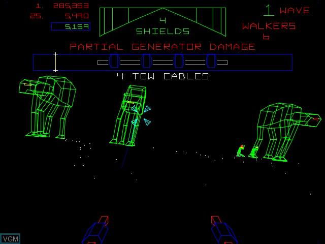 In-game screen of the game Empire Strikes Back, The on MAME