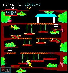 In-game screen of the game Kangaroo on MAME