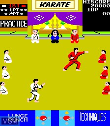 In-game screen of the game Karate Champ on MAME