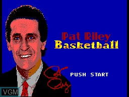 Title screen of the game Pat Riley Basketball on Sega Master System