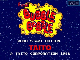 Title screen of the game Final Bubble Bobble on Sega Master System