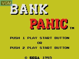 Title screen of the game Bank Panic on Sega Master System