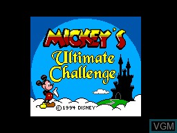 Title screen of the game Mickey's Ultimate Challenge on Sega Master System