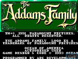 Title screen of the game Addams Family, The on Sega Master System