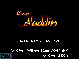 Title screen of the game Aladdin on Sega Master System
