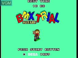 Title screen of the game Alex Kidd - BMX Trial on Sega Master System