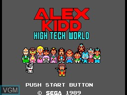 Title screen of the game Alex Kidd in High Tech World on Sega Master System