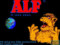Title screen of the game ALF on Sega Master System