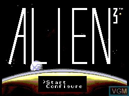 Title screen of the game Alien 3 on Sega Master System