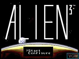 Title screen of the game Alien 3 on Sega Master System