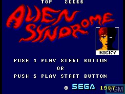 Title screen of the game Alien Syndrome on Sega Master System