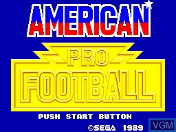 Title screen of the game American Pro Football on Sega Master System