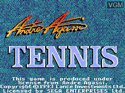 Title screen of the game Andre Agassi Tennis on Sega Master System