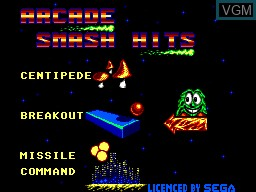 Title screen of the game Arcade Smash Hits on Sega Master System