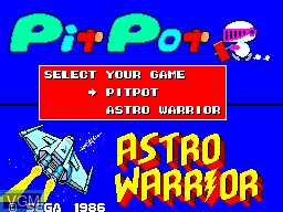 Title screen of the game Astro Warrior & Pit Pot on Sega Master System