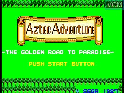Title screen of the game Aztec Adventure - The Golden Road to Paradise on Sega Master System