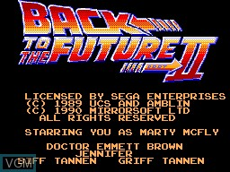 Title screen of the game Back to the Future Part II on Sega Master System