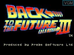 Title screen of the game Back to the Future Part III on Sega Master System