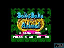 Title screen of the game Baku Baku Animals on Sega Master System