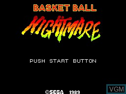 Title screen of the game Basket Ball Nightmare on Sega Master System
