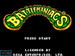 Title screen of the game Battlemaniacs on Sega Master System